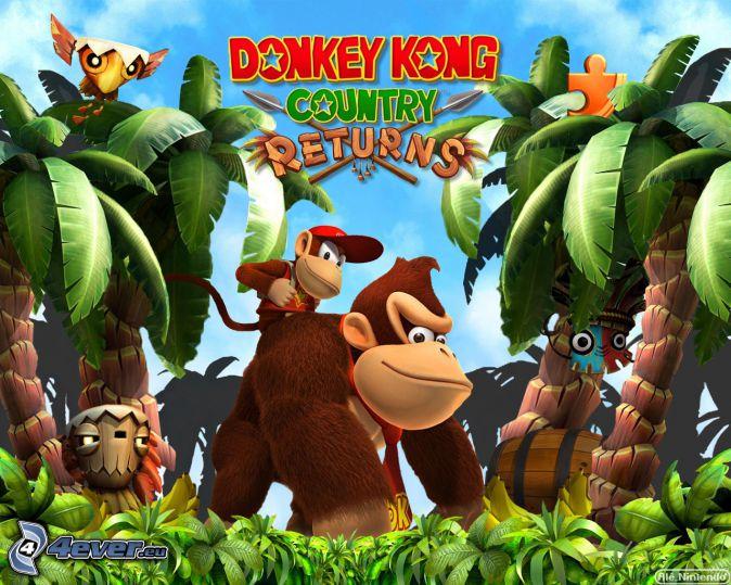 Donkey Kong Country Returns, gorilla, palme