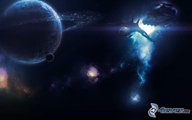 pianeti, nave spaziale, galassia