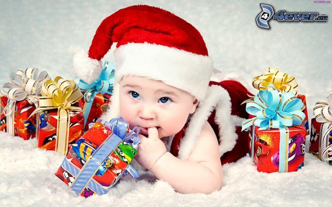 bambino, cappello di babbo natale, regali