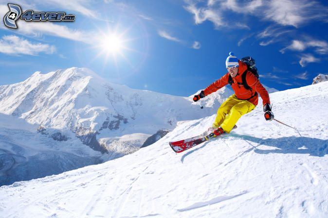 sci, sciatore, pista da sci, colline coperte di neve, sole