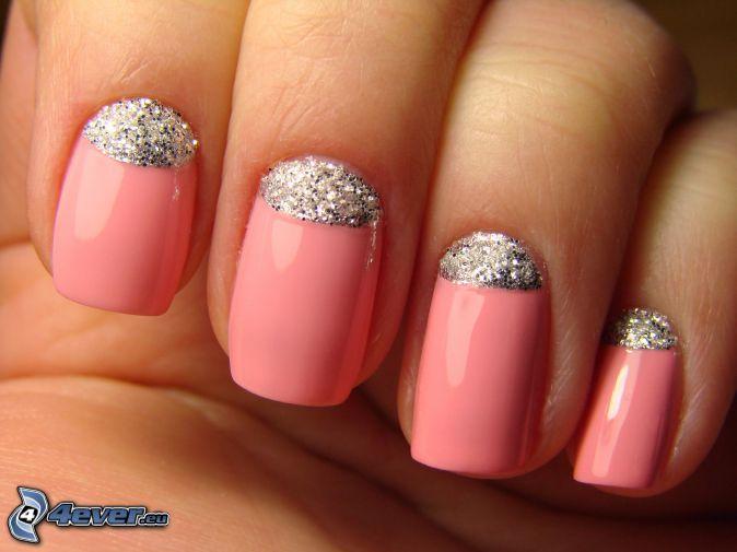 unghie dipinte, glitter