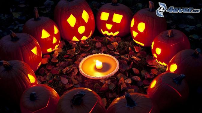Zucche di Halloween, candela, cerchio, foglie di autunno, oscurità