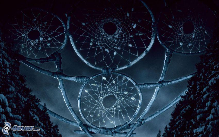 acchiappasogni, alberi coperti di neve, notte