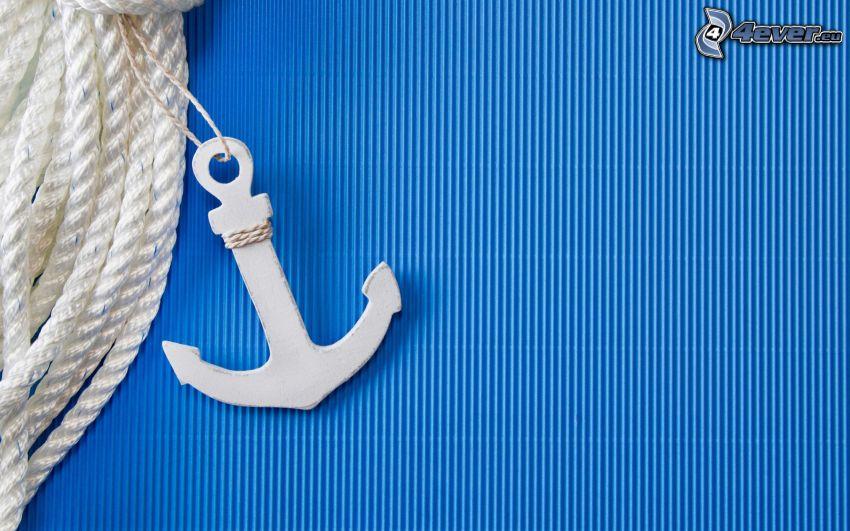 ancora, corda, righe blu