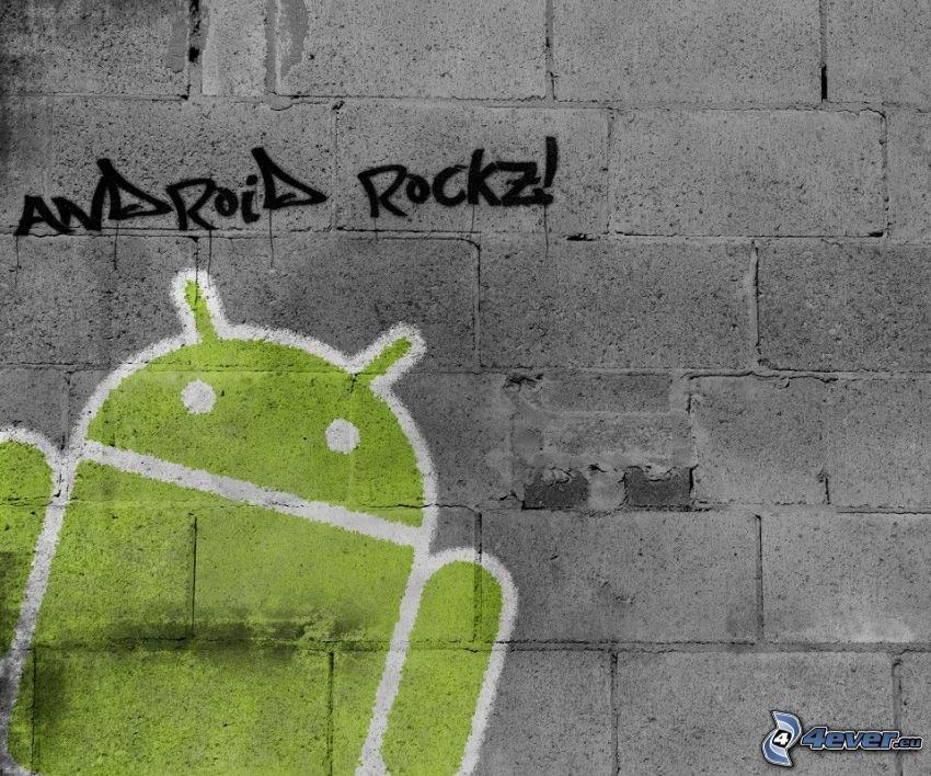 Android, graffitismo, muro