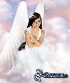 angelo, ragazza, cielo