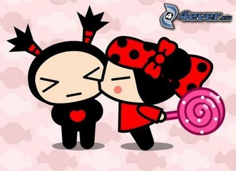 bacio, cartone animato, Pucca