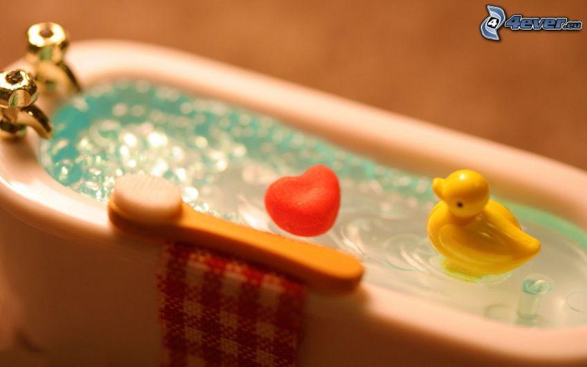 bagno, anatra, cuore