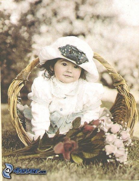 bambino, cesto, bouquet, lady