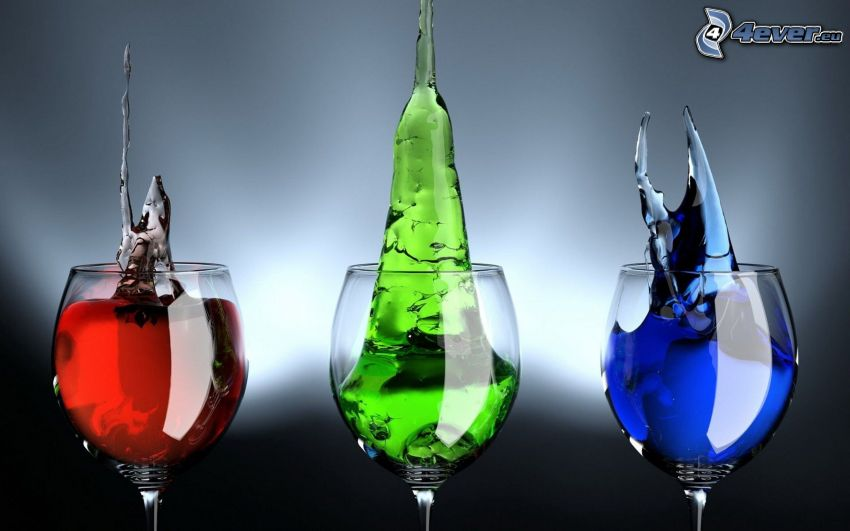 bicchieri, liquido, rosso, verde, blu