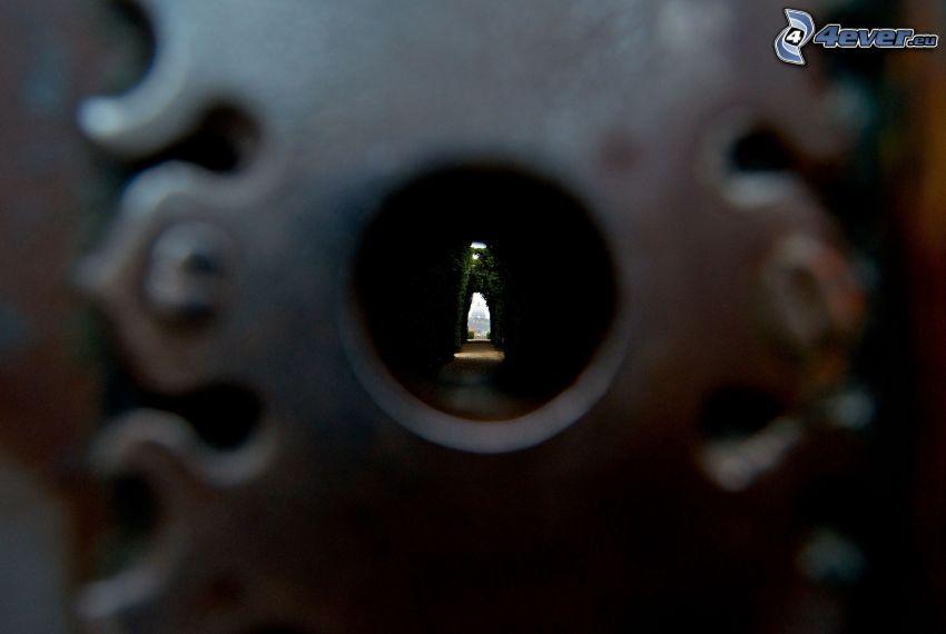buco della serratura, tunnel