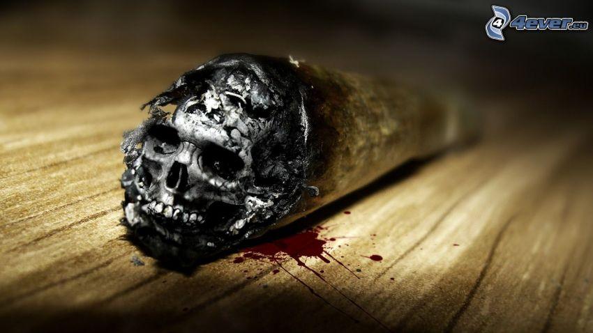 campagna contro il fumo, sigaretta, cranio