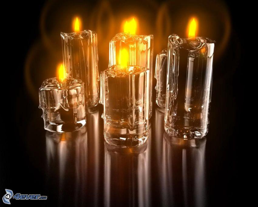 candele, bicchieri