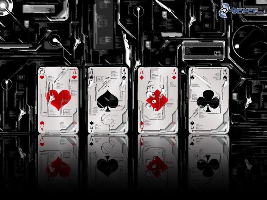 carte, assi, macchine, poker