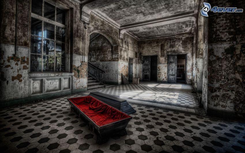 cassa da morto, vecchia casa, vecchio edificio, HDR