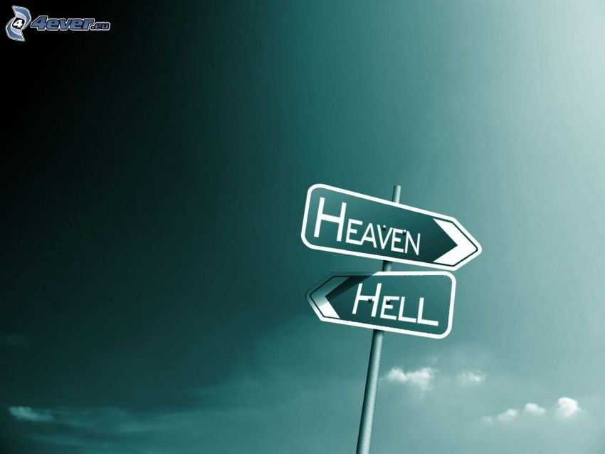 cielo, inferno, freccia di strada