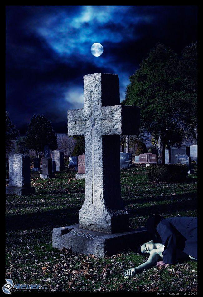 cimitero, luna, vampiro, oscurità