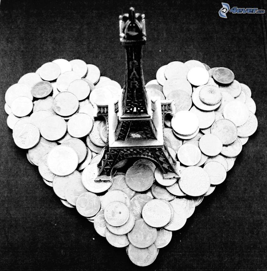 cuore, euro monete, Torre Eiffel
