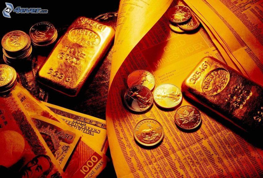 denaro, monete, banconote, lingotti d'oro