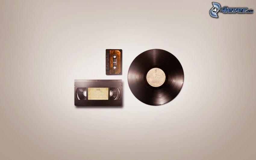 disco in vinile, cassetta
