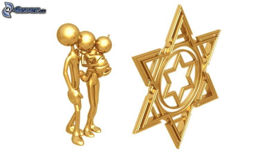 ebraismo, figurini, famiglia