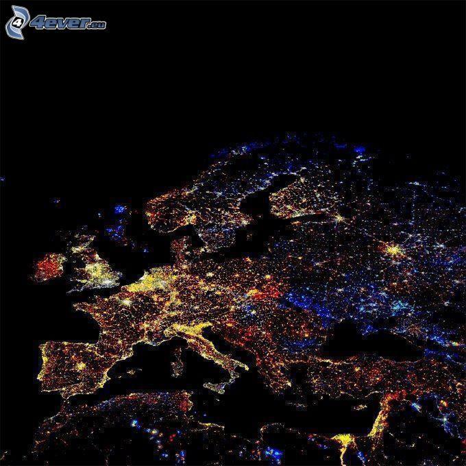 europa illuminata durante la notte
