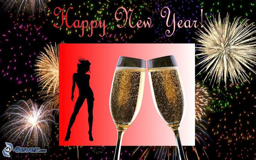 Felice anno nuovo, champagne, fuochi d'artificio