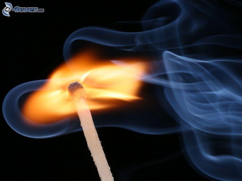 fiammifero, fuoco, fumo