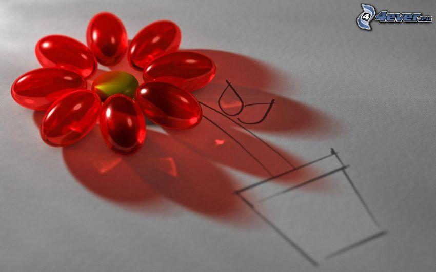 fiore, vaso da fiori, perline