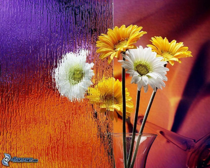 fiori, vetro, vaso