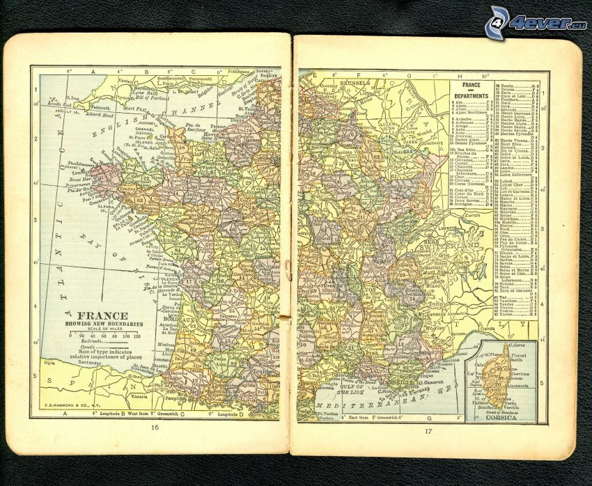 Francia, mappa storica, atlante