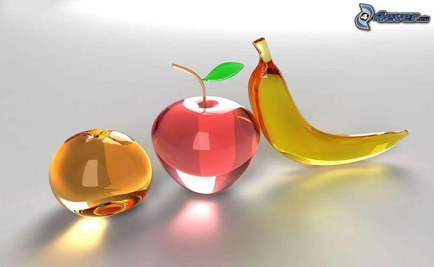 frutta, vetro, arancia, mela, banana