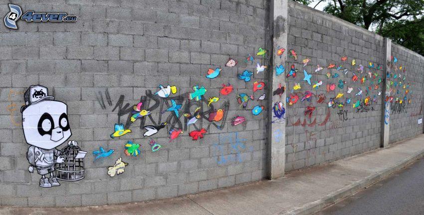 graffitismo, stormo di uccelli, muro