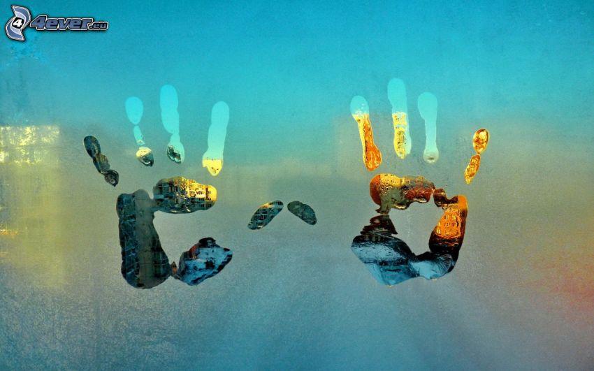 impronte di mani, rugiada, vetro