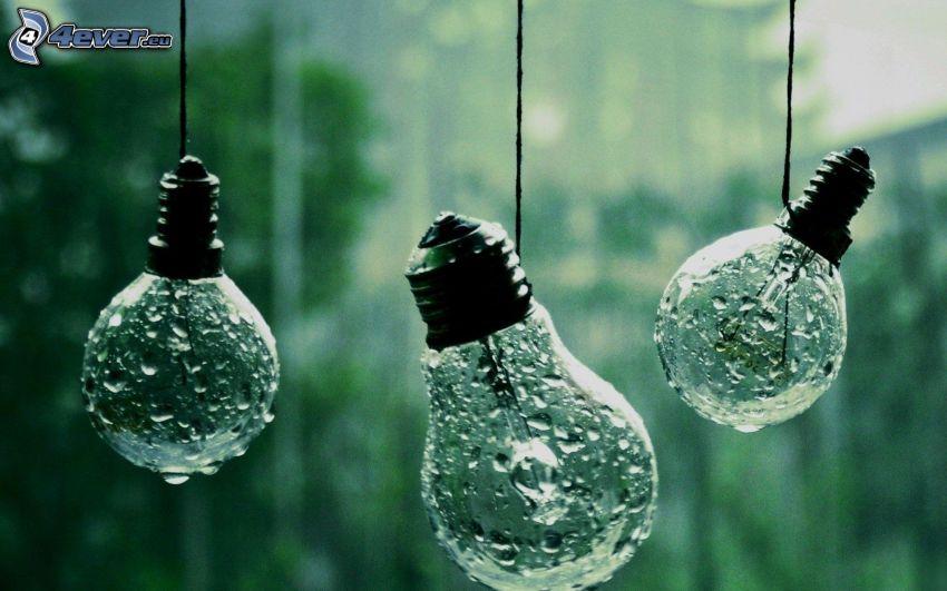 lampadine, gocce d'acqua