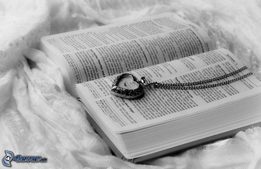 libro, ciondolo con il cuore