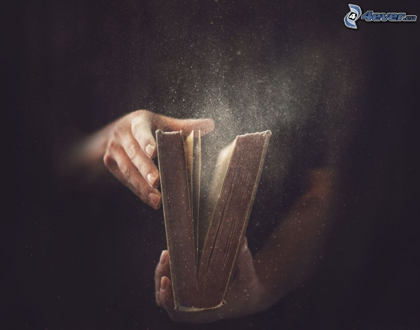 libro, mani, polvere