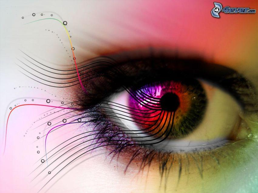 occhio colorato, linee