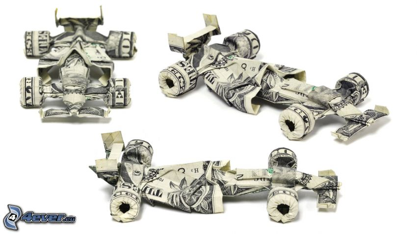 origami, banconote, dollari, formula