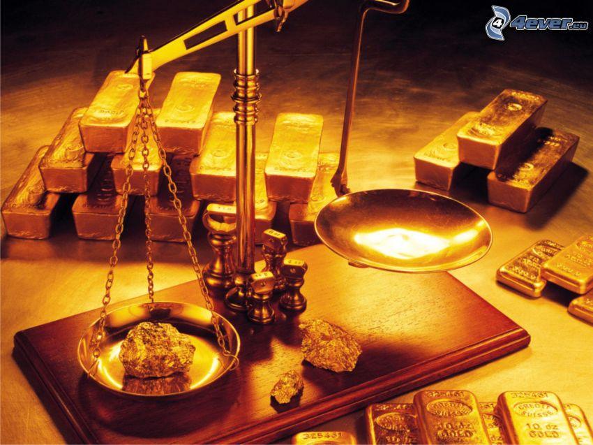 oro, lingotti d'oro, bilancia