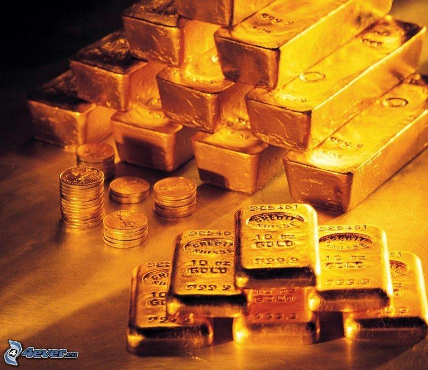 oro, lingotti d'oro, monete
