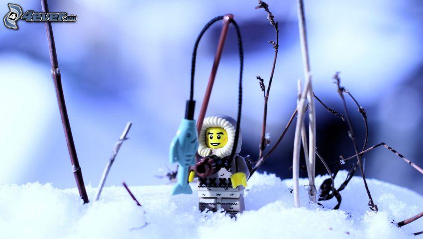 pupazzo, neve, Pesca, Lego