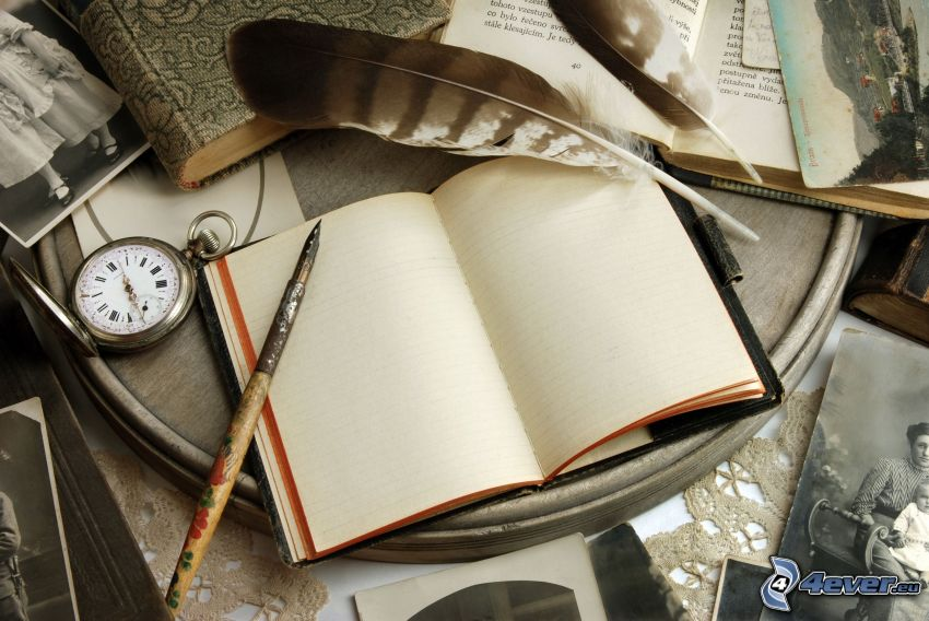 quaderno, penna, orologio, piuma