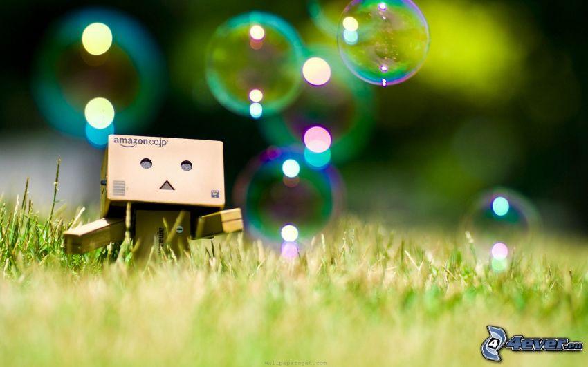 robot di carta, bolle, l'erba