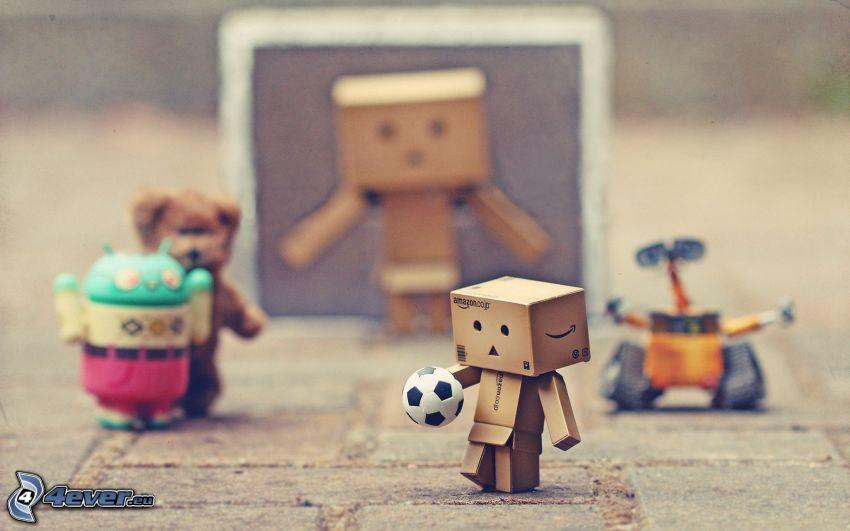 robot di carta, calcio