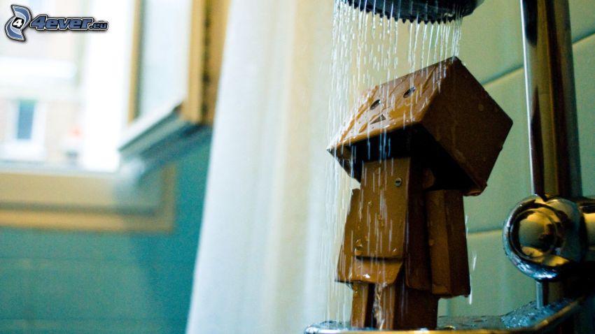 robot di carta, doccia