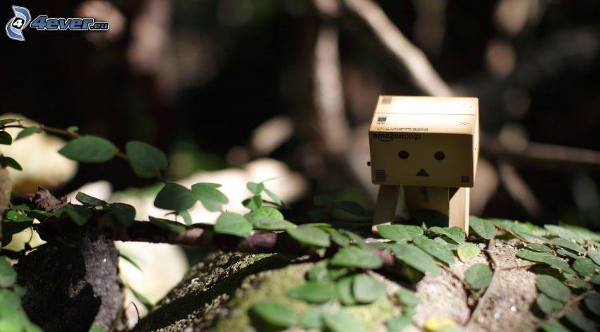 robot di carta, foglie