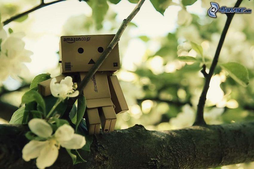 robot di carta, rami, ciliegio in fiore