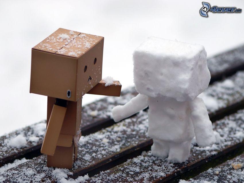 robot di carta, robot, neve