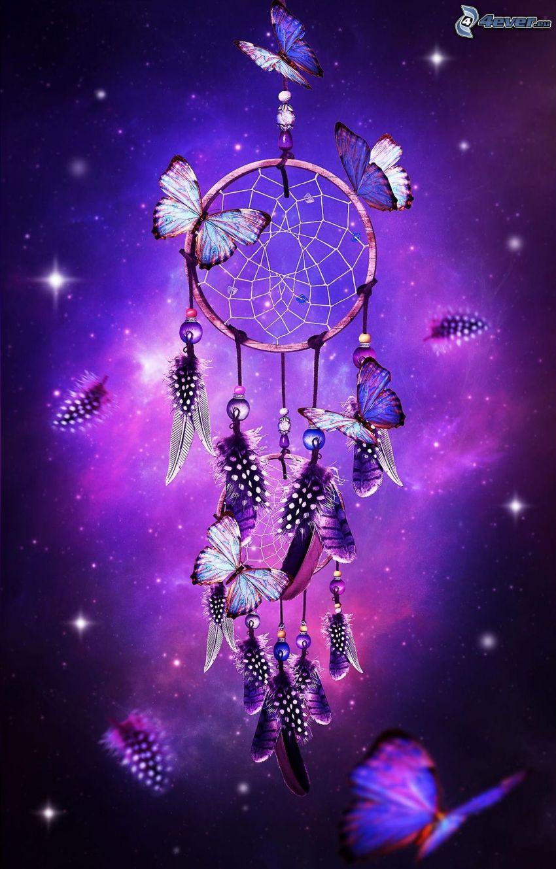 scacciasogni, farfalle, sfondo viola